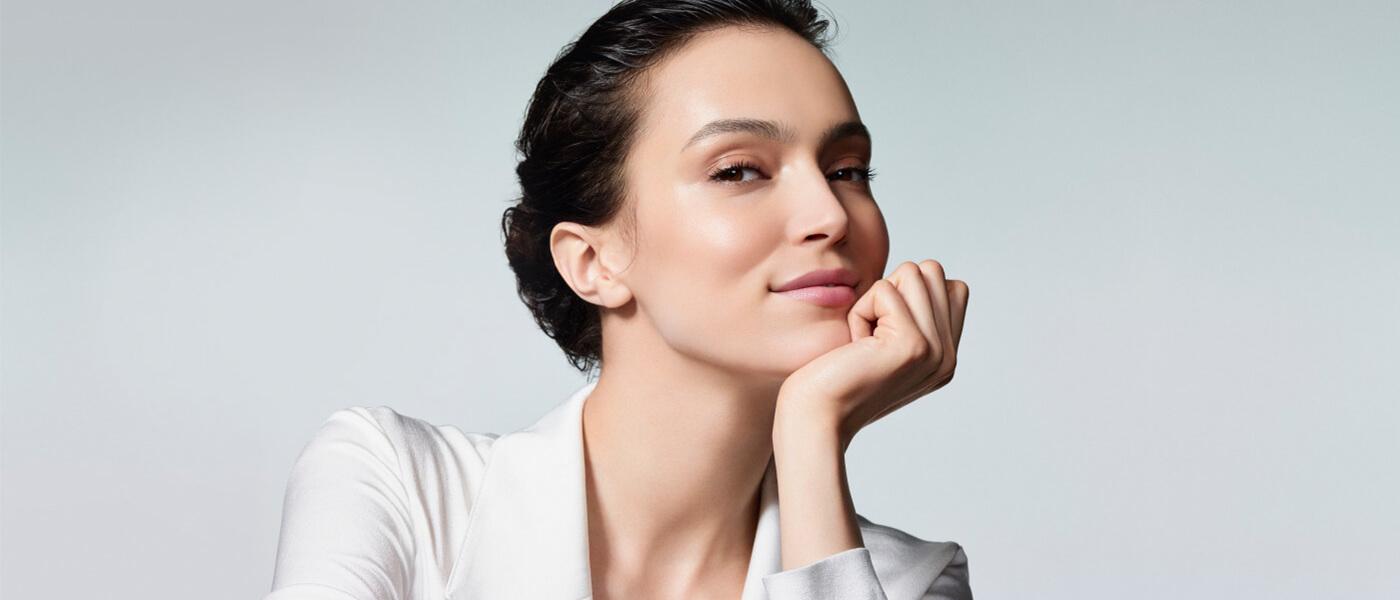 Clarins skin care model